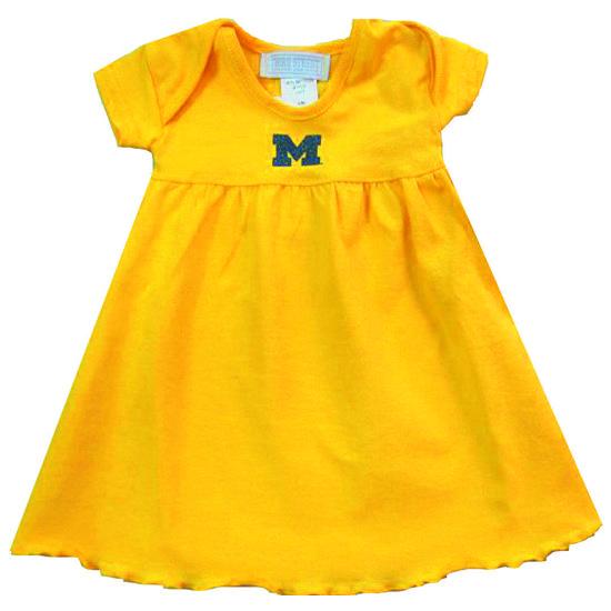 Third Street University of Michigan Toddler Yellow Glitter Dress
