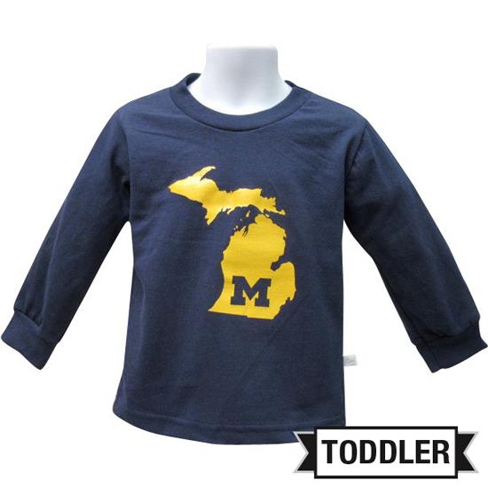 Third Street University of Michigan Toddler Navy ''State of Michigan'' Long Sleeve Tee
