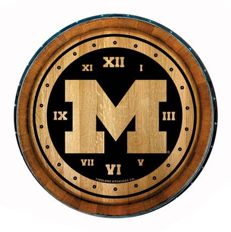 Timeless Etching University of Michigan 24'' Wine Barrel Clock