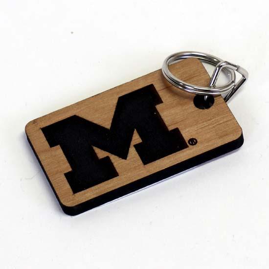 Timeless Etching University of Michigan Alderwood Etched Keychain
