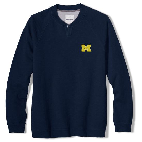 Tommy Bahama University of Michigan Navy Long Sleeve Sunset Slub Henley Shirt