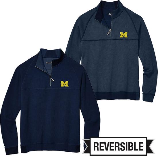 Tommy Bahama University of Michigan Fairwary Flip Reversible 1/2 Zip Pullover