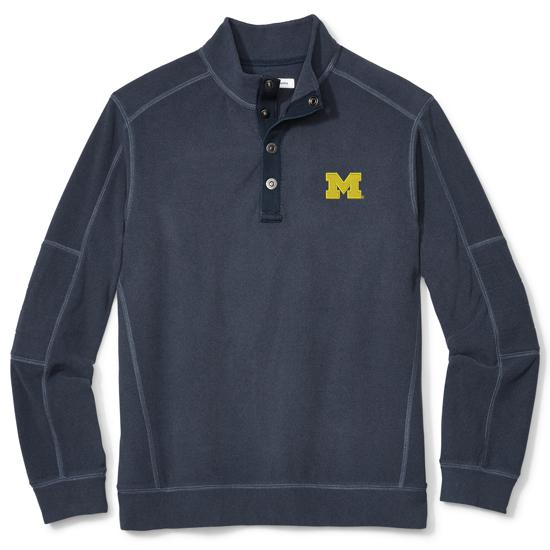 Tommy Bahama University of Michigan Navy Fleecebender 1/4 Snap Collar Sweatshirt