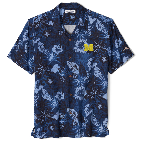 Tommy Bahama University of Michigan Fuego Floral Camp Shirt