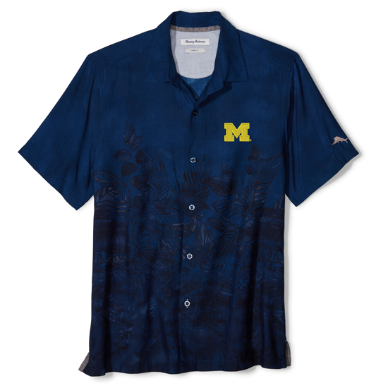 Tommy Bahama University of Michigan Navy Floral Fade Camp Shirt