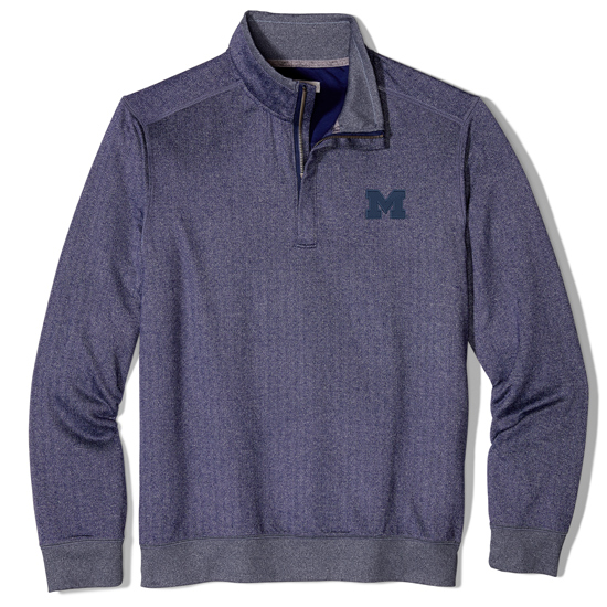 Tommy Bahama University of Michigan Navy Herringbone Performance 1/2 Zip Pullover