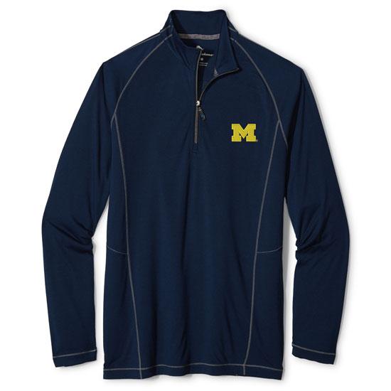 Tommy Bahama University of Michigan Navy ''Goalkeeper'' 1/2 Zip Pullover
