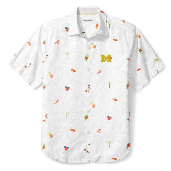 Tommy Bahama University of Michigan White ''Beach-cation'' Camp Shirt