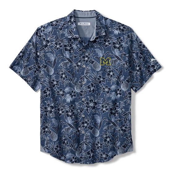 Tommy Bahama University of Michigan Blue Note Sport Tiki Luau Shirt