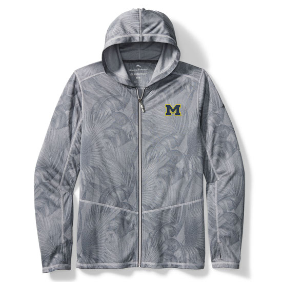 Tommy Bahama University of Michigan Arctic Sport Forte Fronds IslandActive Full Zip Hooded Sweatshirt