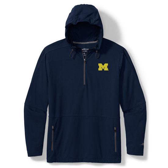 Tommy Bahama University of Michigan Navy Head Start IslandZone Half-Zip Hooded Pullover