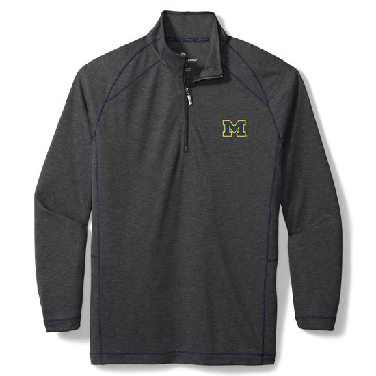 Tommy Bahama University of Michigan Charcoal Gray IslandZone ''Final Score'' 1/2 Zip Pullover Sweatshirt