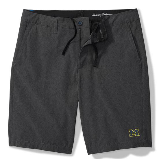 Tommy Bahama University of Michigan Dark Gray Cayman Isles Hybrid Board Shorts