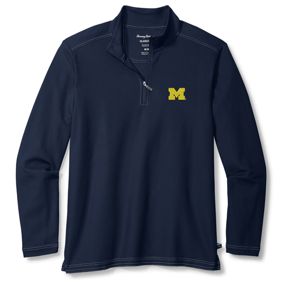 Tommy Bahama University of Michigan Navy Emfielder 1/2 Zip Pullover
