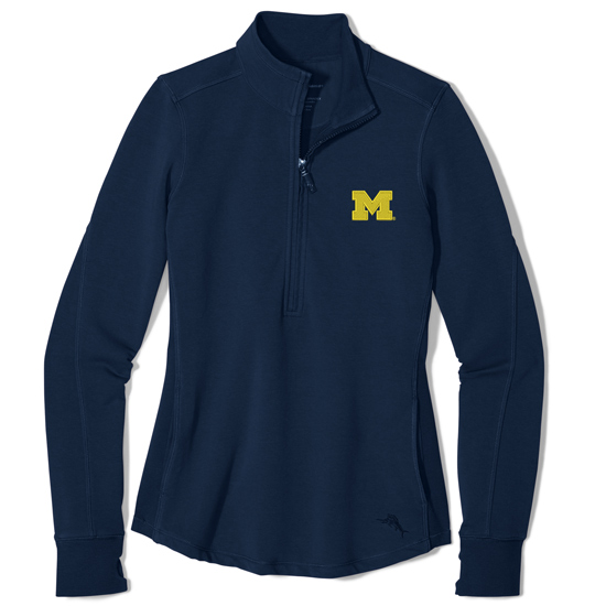 Tommy Bahama University of Michigan Women's Navy Half-Zip Pullover