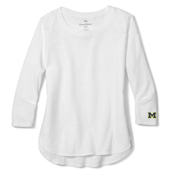 Tommy Bahama University of Michigan Women's White Ashby Rib 3/4 Sleeve Tee