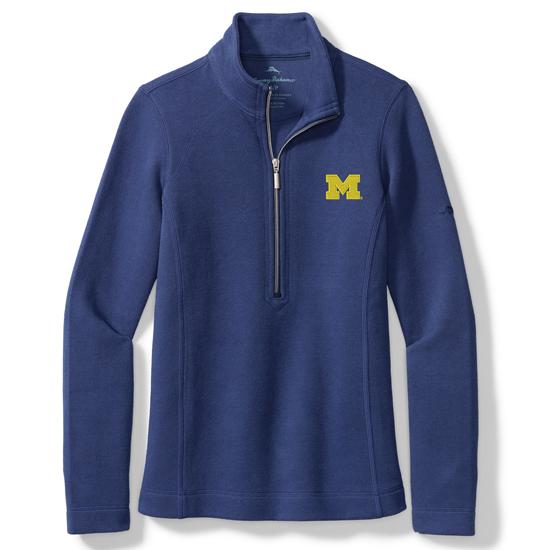 Tommy Bahama University of Michigan Women's Island Navy Aruba Half-Zip Pullover Sweatshirt