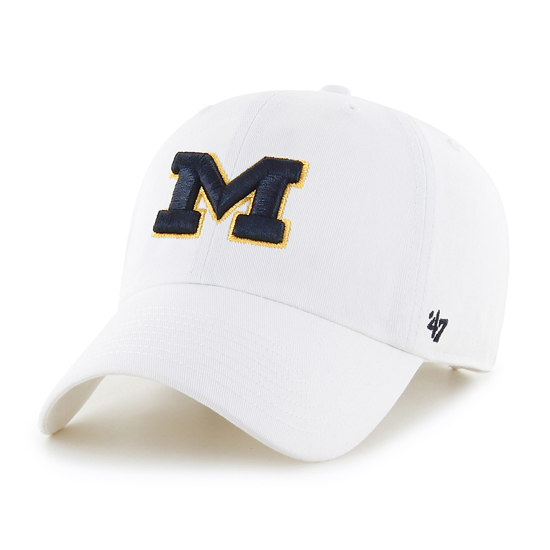 '47 Brand University of Michigan White Clean-Up Basic Slouch Hat