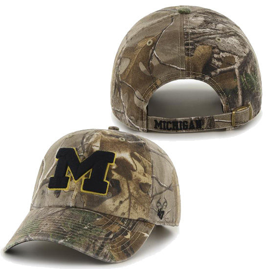 '47 Brand University of Michigan Big Buck Clean Up Camo Slouch Hat