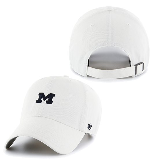 '47 Brand University of Michigan White Small Block ''M'' Logo Clean-Up Hat