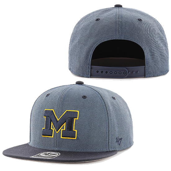 '47 Brand University of Michigan Navy Double Move Captain Flat Brim Snapback Hat