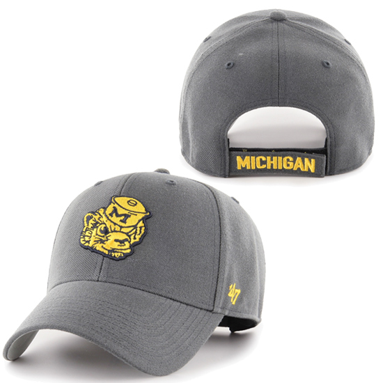 '47 Brand University of Michigan Charcoal Gray College Vault Wolverine MVP Closer Hat