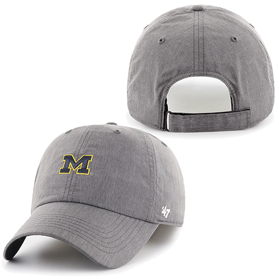 '47 Brand University of Michigan Gray ''Wrath'' Clean-Up Running Hat