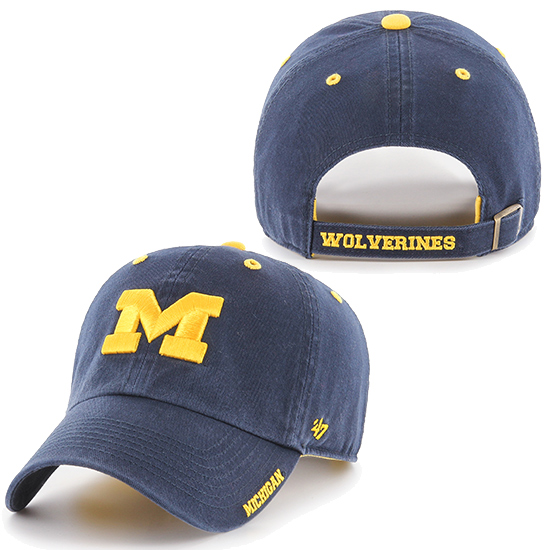 '47 Brand University of Michigan Navy ''Ice'' Clean-Up Slouch Hat