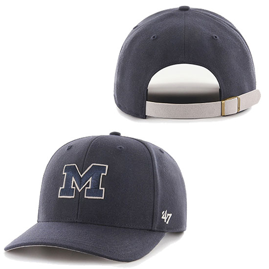 '47 Brand University of Michigan Navy MVP Closer Suede Underbrim Semi-Flat Hat