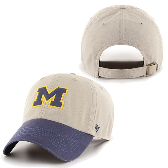 '47 Brand University of Michigan ''Rivington'' Tan/Navy Clean-Up Hat