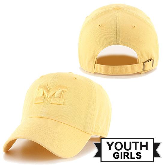 47 Brand University of Michigan Youth Girls Maize Tonal Clean-Up Hat