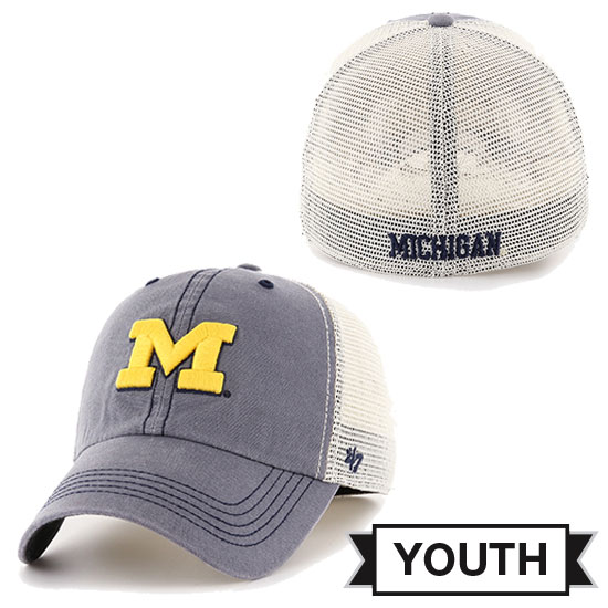 '47 Brand University of Michigan Youth Slate Gray Caprock Canyon Meshback Slouch Stretch Fit Hat
