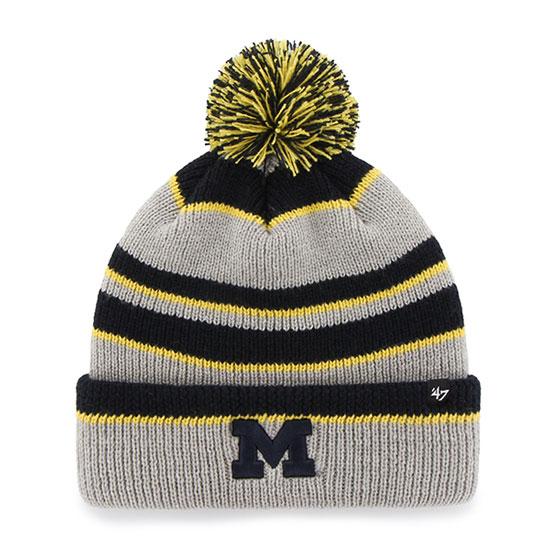 '47 Brand University of Michigan Gray ''Whitman'' Cuffed Pom Knit Hat