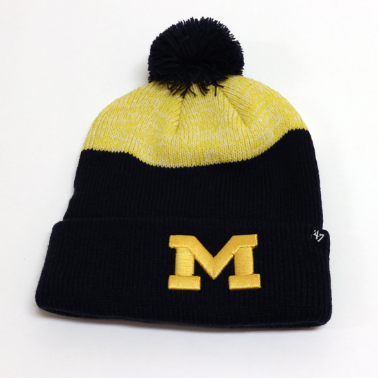 '47 Brand University of Michigan Yellow ''Backdrop'' Cuffed Pom Knit Hat