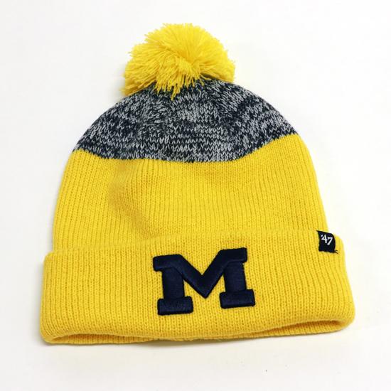 '47 Brand University of Michigan Navy ''Backdrop'' Cuffed Pom Knit Hat
