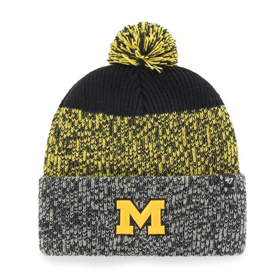 '47 Brand University of Michigan Navy/Yellow/Gray Static Cuffed Knit Hat