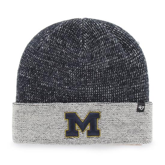'47 Brand University of Michigan ''Hailstone'' Navy/ Gray Cuffed Knit Hat