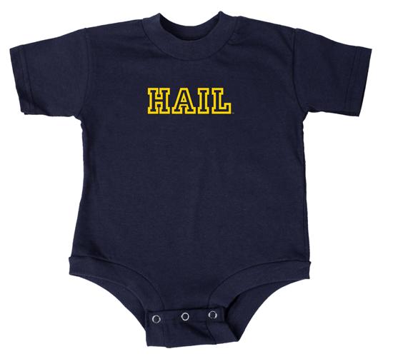 UGP University of Michigan Navy ''HAIL'' Outline Onesie Bodysuit