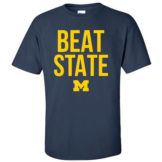 29c018fd2 University of Michigan Football Navy   Beat State   Tee