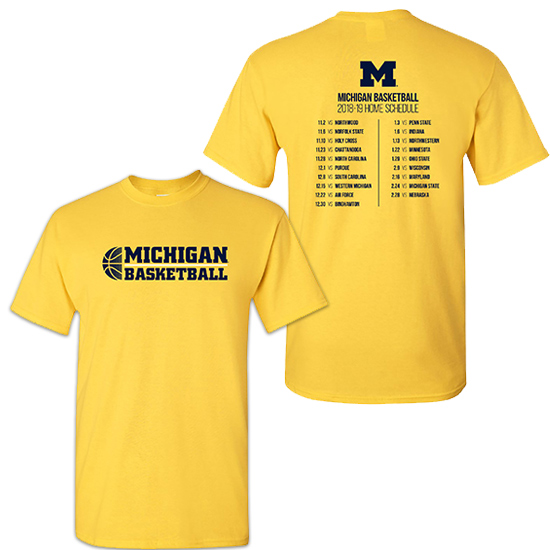 University of Michigan Basketball Maize 2018-2019 Season Tee