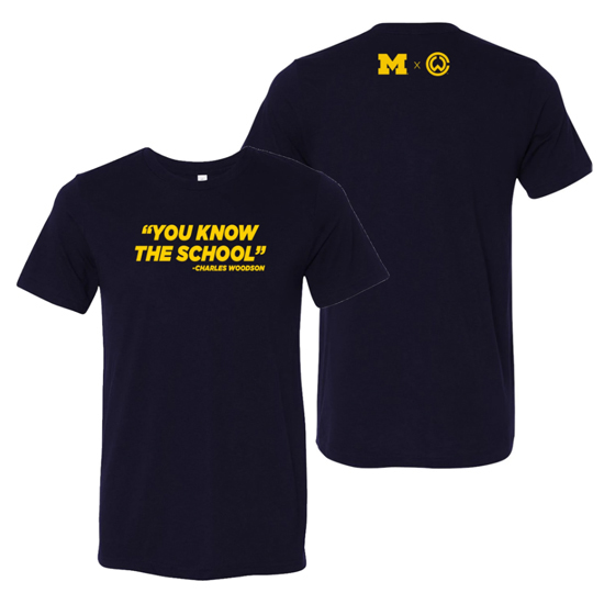 Charles Woodson Athletics University of Michigan ''You Know The School'' Navy Tee