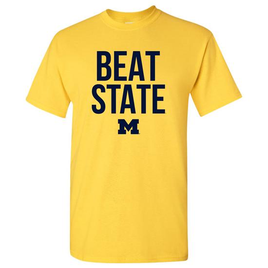 University of Michigan Football Yellow ''Beat State'' Tee