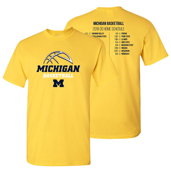 University Of Michigan Basketball 2019 2020 Schedule Tee