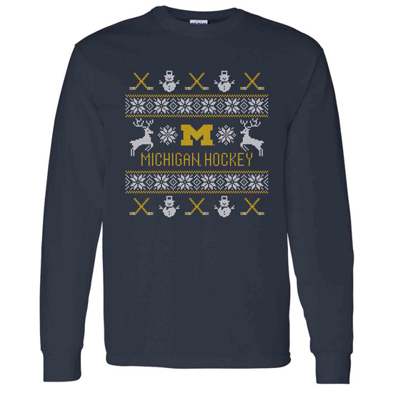 University of Michigan Hockey Navy Ugly Holiday Long Sleeve Tee