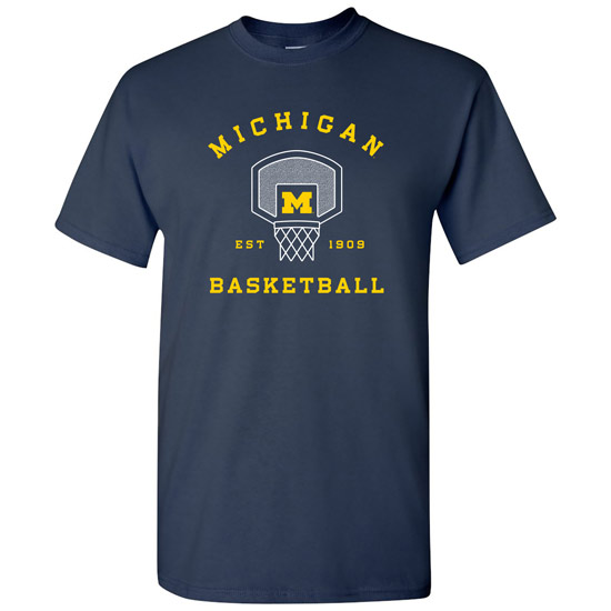 University of Michigan Basketball Navy Backboard/Net Tee