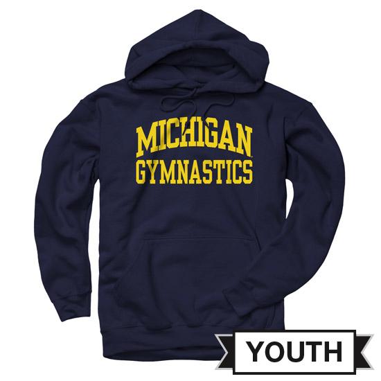 University of Michigan Gymnastics Youth Navy Hooded Sweatshirt