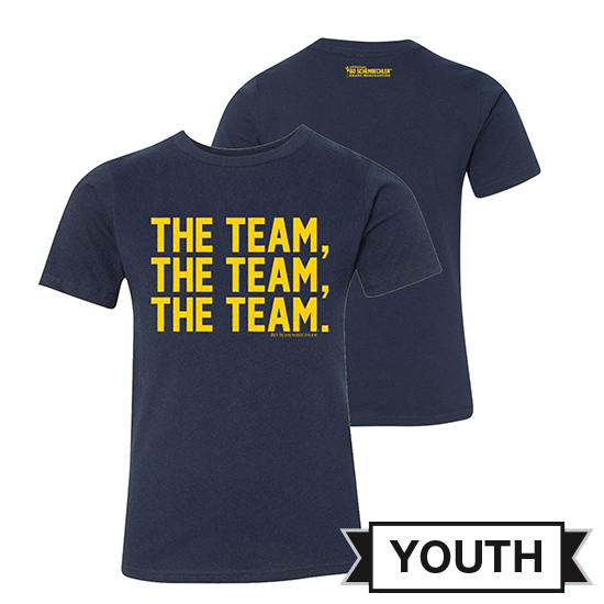 Bo Schembechler Brand University of Michigan Youth Navy ''The Team, The Team, The Team'' Tee