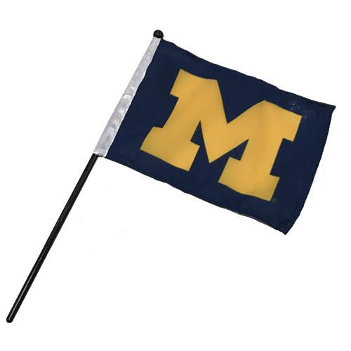 University of Michigan 4 x 6 Block M Flag on a Stick