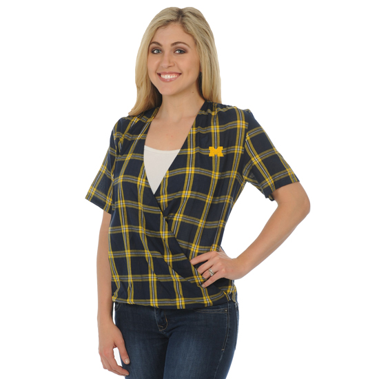 UG Apparel University of Michigan Women's Plaid Wrap Top