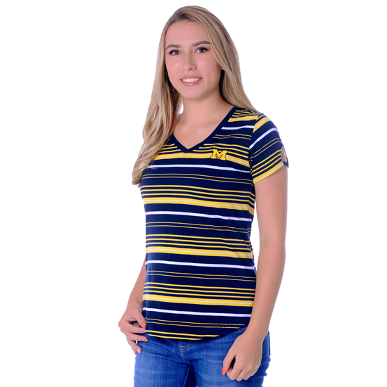 UG Apparel University of Michigan Women's Cut-Out Striped Spirit Tee